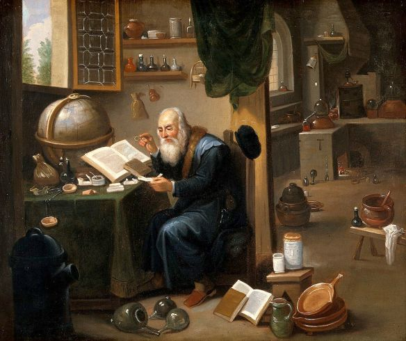 An Alchemist in his Laboratory - by a follower of David Teniers the Younger